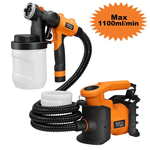 Paint Sprayer, Tacklife HVLP 1100ml/min,800W Paint Gun, with 2 X 1200ml Replaceable & Detachable Containers, Three Spray Patterns, Adjustable Valve Knobs for Indoor & Outdoor Precise Paint