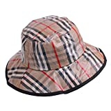 Women's Rain Hats Waterproof Rain Hat Wide Brim Bucket Hat Rain Cap Foldable (Brown Stripe)