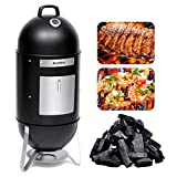 Audew Smoker Grill Combo 18' Heat Control/ 2 Cooking Racks/Charcoal Smoked Turkey Grill BBQ Outdoor Picnic Camping