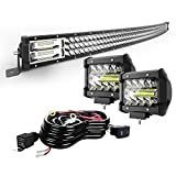 TURBO SII 42' Curved LED Light Bar Triple Row 576W Flood Spot Combo Beam Led Bar W/ 2Pcs 4in 60W Off Road Driving Fog Lights with Wiring Harness-3 Leads for Jeep Trucks Polaris ATV Boats Lighting