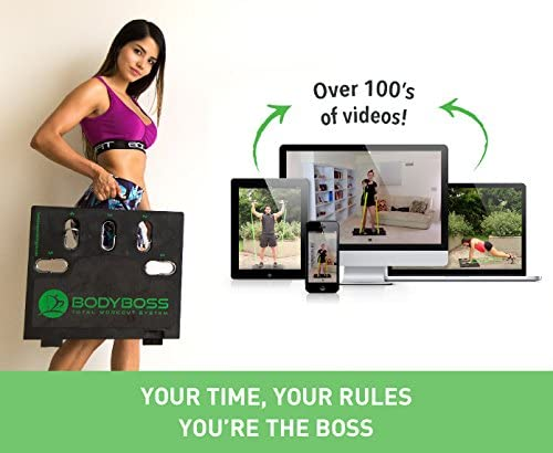 BodyBoss 2.0 - Full Portable Home Gym Workout Package + Resistance Bands - Collapsible Resistance Bar, Handles - Full Body Workouts for Home, Travel or Outside 7