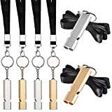 Norme 6 Pieces Outdoor Double Tubes Emergency Survival Whistle with Buckles and Black Lanyard for Hiking Camping Boating Hunting Fishing Sports Dog Training (Gold and Silver)