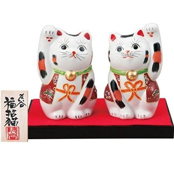 Japanese pair Maneki Neko Lucky cats Kutani ceramic