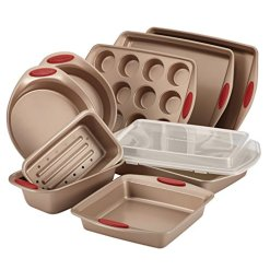 Rachael-Ray-52410-Cucina-Nonstick-Bakeware-Set-with-Baking-Pans-Baking-Sheets-Cookie-Sheets-Cake-Pan-Muffin-Pan-and-Bread-Pan-10-Piece-Latte-Brown-with-Cranberry-Red-Grip