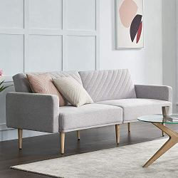 Mopio Chloe Futon Sofa Bed, Convertible Sleeper Sofa with Tapered Wood Legs, 77.5″ W, Small Splitback Sofa for Living Room, Light Gray Fabric