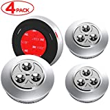 Gimars Upgraded Strong Sticky Stick-On LED Push Light Battery-powered Touch Tap Night Lamp for Closet, Counter, Attic, Garage, Car, Shed, Storage Room and More, Silver