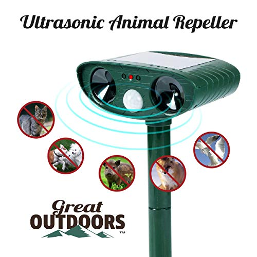 Great Outdoors Ultrasonic Animal Repeller - Eco-Friendly and Waterproof Solar Repellent with Sound Control - Sonic Deterrent for Bird Deer Cat Dog Squirrel Raccoon Rabbit Fox - Garden Protection