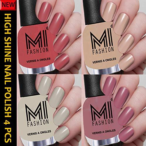 MI FASHION Shine Nail Polish Combo Sets of 4 Pcs 12ml each Multicolor