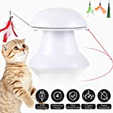 petnf 2020 New Upgraded Cat Laser Toy,Cat Toys Interactive,2 in 1 Automatic Cat Toy,Moving Feather Toy,Cat Interactive Toys,Auto Rotating Light,Multiple Feather Hangings,3 Ways to Play