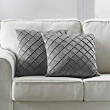 Longhui bedding Velvet Grey Throw Pillow Cover, 18 x 18 Inches Decorative Throw Pillows for Couch Sofa Bed, Gray Square Cushion Covers with Zipper Closure - Set of 2