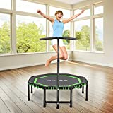 MOVTOTOP 48' Folding Indoor Trampoline, Portable Exercise Trampoline Rebounder with Adjustable Handrail and Safety Pad for Kids Adults, Covered Bungee Rope System – Max Limit 286 lbs