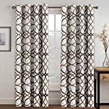 H.VERSAILTEX Blackout Curtains 96 Inches Long for Bedroom - Thermal Insulated Grommet Room Darkening Curtains/Panels/Drapes for Living Room/Patio, Sound Proof and Soft, Taupe and Brown Geo Pattern