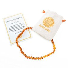 Amber Teething Necklace – Polished Teething Necklace for Babies Unisex (Honey) – Anti-inflammatory, Swollen Gums & Teething Pain Reduce Properties – Certificated Natural Ukrainian Amber Beads