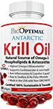 Krill Oil Supplement, Krill Oil 1000 mg, Wild Caught Antarctic Krill, Astaxanthin, Omega 3, DHA, EPA, No Fishy Smell, Certified Sustainable, Qty 60