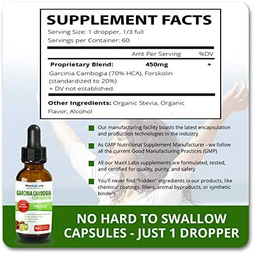 Garcinia CAMBOGIA Liquid Drops Plus FORSKOLIN - New - Powerful 70% HCA Natural Appetite Suppression Control Liquid Diet - Best Weight Loss Supplements That Work - 2oz Bottle Full 30 Day Supply 4