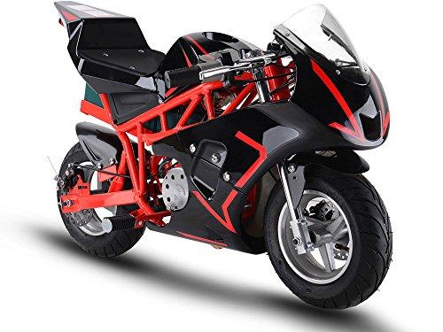 MotoTec 36v 500w Electric Pocket Bike GP Version, THREE large 12v batteries, Red