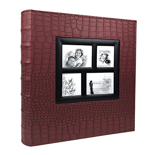 RECUTMS Family Photo Album 4x6 500 Pockets Crocodile Texture Sewn Leather Cover Black Pages Memo Album Wedding Anniversary Photo Albums (Red, 500 Pocket)