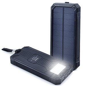 A3 A8 Solar Charger Power Bank, Aedon Portable Solar Power Panel, Dual USB External Battery Pack with LED Flashlight for Cell Phone, iPhone, iPad, Samsung, Android, Gopro Camera and more