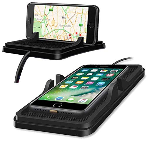 EEkiimy Qi Wireless Charger Pad Car Holder Dashboard Wireless Charger Phone Holder with Anti Slip Mat for iPhone x Car Holder iPhone 8 Plus Samsung Note8,S8 Car Phone Holder Wireless Charging (Black)