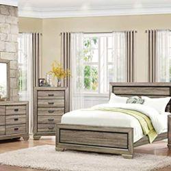 Barra Rustic 5PC Bedroom Set Queen Bed, Dresser, Mirror, 2 Nightstand in Natural Wood