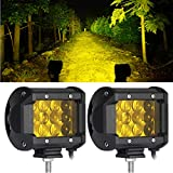 LED Lights Bar 2PCS 4Inch 36W Yellow 6D Triple Row Spot Beam 3800LM Waterproof Fog Lights Driving Light For Truck Off Road Jeep ATV UTV SUV Boat Marine with 1 Year Warranty