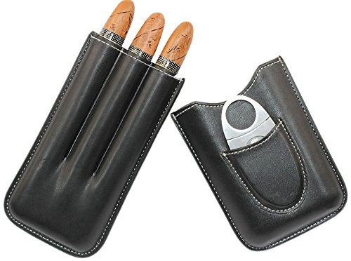 AMANCY 3 Holders Genuine Leather Cigar Case with Silver Stainless Steel Cutter,Packed With Nice Gift Box