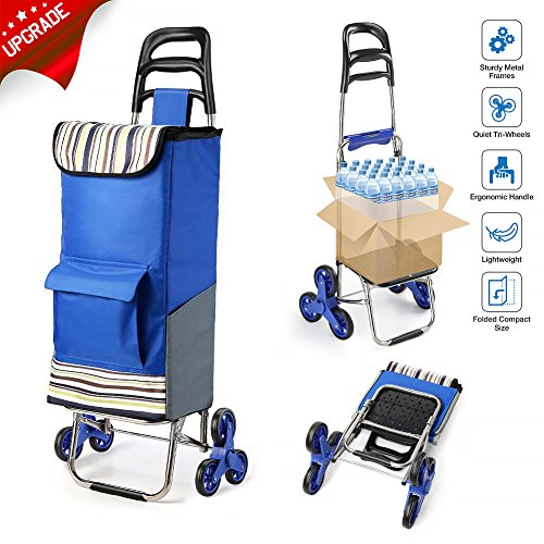 2019 Upgraded Folding Shopping Cart Stair Climbing Cart with Quiet Rubber Tri-Wheels Grocery Utility Cart with Wheel Bearings & Platform for Laundry Basket Loading
