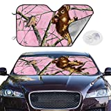 Front Car Sunshade Windshield Squirrel On Pink Camo Branch Sun Shade for Car Foldable UV Ray Reflector Auto Front Window Sun Shade Visor Shield Cover, Keeps Vehicle Cool (51.2'' X 27.5'')