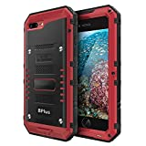 iPhone 8 Plus Waterproof Case,Mangix Heavy Duty with Built-in Screen Full Body Protective Shockproof Drop proof Hybrid Hard Cover Military Outdoor Sport for Apple iPhone 8 Plus/iPhone 7 Plus (Red)