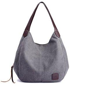 d3799c5971b Alyssaa Women s Canvas Shoulder Handbags Ladies Casual Hobo Shopping Bags  Cotton Totes Daily Purses