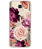 BAISRKE Galaxy J6 2018 Case, Galaxy J6 Case with Flowers Slim Shockproof Clear Floral Pattern Soft Flexible TPU Back Cove for Samsung Galaxy J6 2018/J600 [Purple Flowers]