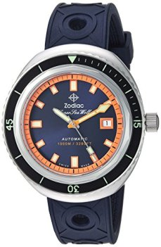 Zodiac Men's Super Sea Wolf 68 Stainless Steel Swiss-Automatic Watch with Rubber Strap, Blue, 23 (Model: ZO9504)