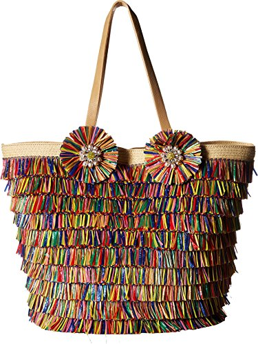 51CJ1%2BUNUFL Made of multicolored raffia fringe with small straps to carry as a satchel With a magnetic snap closure that opens to a single compartment interior