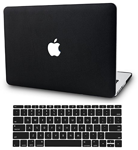 KECC Laptop Case for MacBook Pro 13' (2019/2018/2017/2016) w/Keyboard Cover Italian Leather A1989/A1706/A1708 Touch Bar 2 in 1 Bundle (Black Leather)