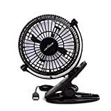 Keynice USB Fan Clip Desk Personal Fan, Table Fans, Clip on Fan, 2 in 1 Application, Strong Wind, Mini Desk Fan, Small Desktop Fan, 4 Inch 2 Speed Portable Cooling Fan USB Powered by PC Netbook- Black