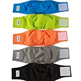 JoyDaog Reusable Belly Bands for Dogs,5 Pack Premium Washable Dog Diapers Male Puppy Nappies Wrap,XS