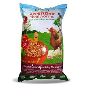 Amzey Dried Mealworms 11 LBS - 100% Natural for Chicken Feed, Bird Food, Fish Food, Turtle Food, Duck Food, Reptile Food, Non-GMO, No Preservatives, High Protein and Nutrition 8