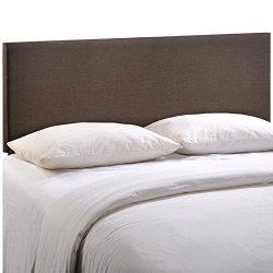 Modway Region Linen Fabric Upholstered Queen Headboard in Dark Brown