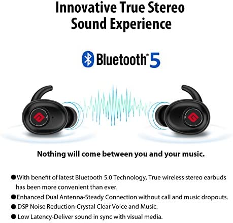 True Wireless Earbuds Bluetooth 5.0 Headphones, Sports in-Ear TWS Stereo Mini Headset w/Mic Extra Bass IPX5 Waterproof Low Latency Instant Pairing 15H Battery Charging Case Noise Cancelling Earphones 13