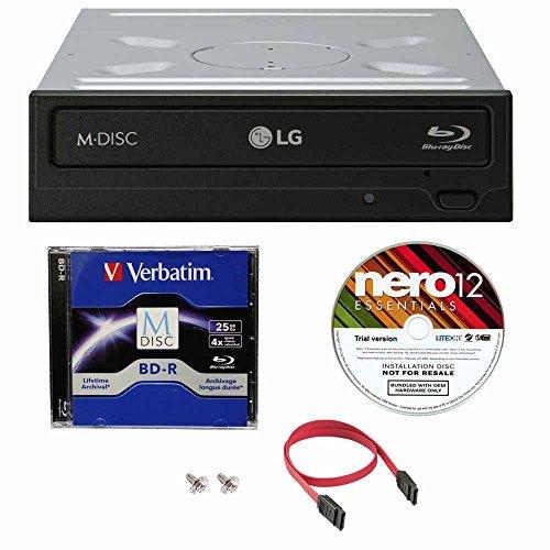 LG WH16NS40 16X Super Multi M-Disc Blu-ray BDXL DVD CD Internal Burner Writer Drive + FREE 1pk Mdisc BD + Nero Software + Cables & Mounting Screws