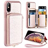 ZVE Wallet Case for Apple iPhone Xs and iPhone X, 5.8 inch, Leather Wallet Case with Credit Card Holder Slot Zipper Wallet Pocket Purse Handbag Wrist Strap Case for Apple iPhone Xs 2018 - Rose Gold