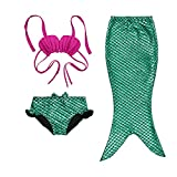 Hot Little Girls 3 Pcs Princess Mermaid Tail Swimmable Bikini Set Swimwear,Green 100(3-4Y)