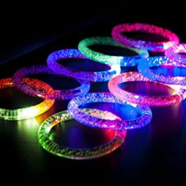 Light-Up Acrylic Bracelet LED Flashing Wristband Glow Blinking Rave Wear (1 DOZEN)