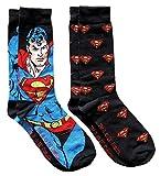 Hyp DC Comics Superman Soaring Pattern Men's Crew Socks 2 Pair Pack Shoe Size 6-12