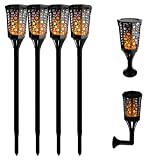 Aluvee Solar Torch Lights,99 LED 3 Mode Dancing Flame Lighting Flickering Torches Waterproof Wireless Outdoor Light Patio Garden Path Yard Wedding Party(4 Pack)