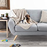 PETMAKER Waterproof Pet Blanket - 40inx30in Plush Lap Throw Protects Couch, Chairs, Car, Bed from Spills, Stains, or Pet Fur-Machine Washable (Tan)