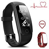 Coffea Fitness Tracker, H7-HR Activity Tracker : Heart Rate Monitor Wireless Bluetooth Smart Wristband Bracelet, Waterproof Fitness Watch with Replacement Band for Android & IOS (Black+Red Band)