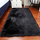 Luxury Soft Faux Sheepskin Fur Area Rugs,Small Faux Fur Rug for Bedroom Living Room Black - 2x3ft