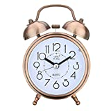 "Jeteven 3"" Twin Bell Alarm Clock with Backlight,Mini Non-Ticking Vintage Alarm Clock Quartz Analog Retro Desk Clock,Copper"