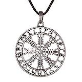 QIANJI Hollow Out Aegishjalmur Helm of awe Rune Circle Pendant Necklace Women